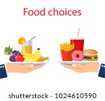 food choice. healthy and junk... | Shutterstock .eps vector #1024610590