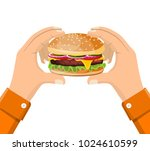 hamburger holding in hand ... | Shutterstock .eps vector #1024610599