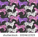 seamless pattern with tigers.... | Shutterstock . vector #1024611523
