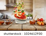 flying food ingredients with... | Shutterstock . vector #1024612930