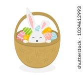 rabbit in basket isolated on...   Shutterstock .eps vector #1024612993