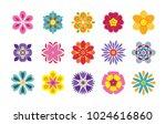 set of flat flower icons... | Shutterstock .eps vector #1024616860