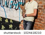 trendy young guy without face... | Shutterstock . vector #1024618210