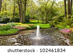 Garden With Tulips In The...