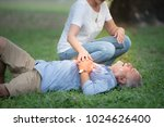 elderly man have chest pains or ... | Shutterstock . vector #1024626400