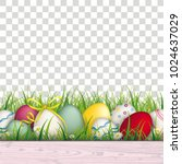 colored eggs with ribbon in the ... | Shutterstock .eps vector #1024637029