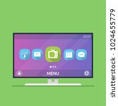 smart tv. menu with icons and... | Shutterstock .eps vector #1024655779