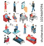 isometric icons set with people ... | Shutterstock .eps vector #1024669396