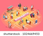 romantic relationship isometric ... | Shutterstock .eps vector #1024669453