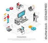 computer programmers coder for... | Shutterstock .eps vector #1024669483