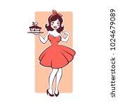 Beauty Retro Pinup Cartoon Gir...