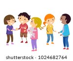 illustration of stickman kids... | Shutterstock .eps vector #1024682764