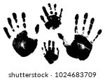 handprints of a man  a woman  a ... | Shutterstock .eps vector #1024683709