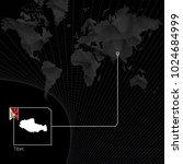 tibet on black world map. map... | Shutterstock .eps vector #1024684999