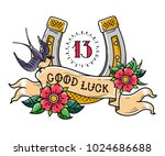 tattoo gold horseshoe with... | Shutterstock .eps vector #1024686688