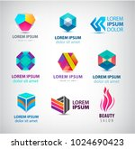 vector set of abstract web cube ... | Shutterstock .eps vector #1024690423