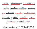 different types of naval combat ... | Shutterstock .eps vector #1024691290