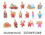 millionaire rich man funny... | Shutterstock .eps vector #1024691368