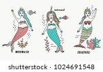cartoon mermaid set illustration | Shutterstock .eps vector #1024691548