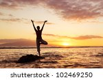 silhouette of a beautiful yoga... | Shutterstock . vector #102469250