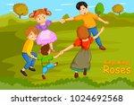 ringa ringa roses  kids english ... | Shutterstock .eps vector #1024692568