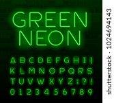 green neon lamp alphabet font....   Shutterstock .eps vector #1024694143