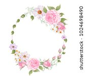 watercolor wreath of pink rose... | Shutterstock . vector #1024698490