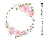 watercolor wreath of pink rose... | Shutterstock . vector #1024698490