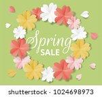 spring sale banner. paper... | Shutterstock .eps vector #1024698973