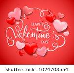 valentines day sale background. ... | Shutterstock .eps vector #1024703554