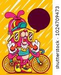 Rabbit Bike Cartoon Character...