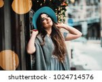 smiling woman in hat and... | Shutterstock . vector #1024714576