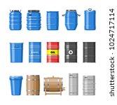 barrel vector oil barrels with... | Shutterstock .eps vector #1024717114