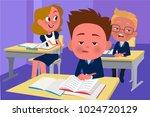 children sitting at school desk  | Shutterstock .eps vector #1024720129