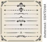 vintage set of black decorative ... | Shutterstock . vector #1024721464