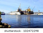 ship are being fixed and... | Shutterstock . vector #102472298