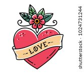 tattoo heart with flower and... | Shutterstock .eps vector #1024731244