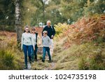 two children are hiking with... | Shutterstock . vector #1024735198