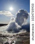geyser in the geysir hot...   Shutterstock . vector #1024735933