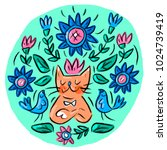 cat scandinavian hygge mandala | Shutterstock .eps vector #1024739419