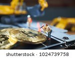 a little miner is digging on... | Shutterstock . vector #1024739758