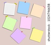 blank squared notepad pages and ... | Shutterstock .eps vector #1024746658