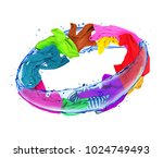 colorful clothes rotates in... | Shutterstock . vector #1024749493