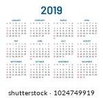 simple wall calendar 2019 year  ... | Shutterstock .eps vector #1024749919