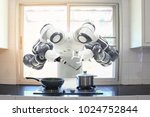 chef robot cooking in the... | Shutterstock . vector #1024752844
