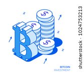 isometric bitcoin investment... | Shutterstock .eps vector #1024753213