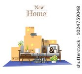 moving home concept background... | Shutterstock .eps vector #1024759048