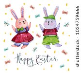 easter card. watercolor hand...   Shutterstock . vector #1024759666