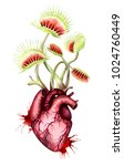 hungry heart with fly traps... | Shutterstock . vector #1024760449