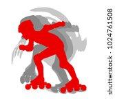 inline skate kid training... | Shutterstock .eps vector #1024761508